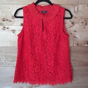 J. Crew Red Lace Ruffle Neck Top Small